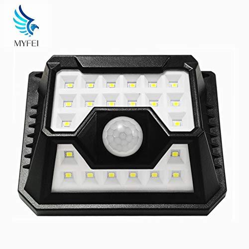 Myfei buitenverlichting op zonne-energie, led en veiligheid, draadloos, bewegingsmelder 32 met 120 ° groothoek, IP65 waterdicht, eenvoudig te installeren aan de muur