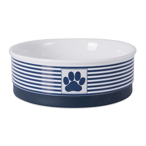 Best Buy! DII Bone Dry Paw Patch & Stripes Ceramic Pet Bowl for Food & Water with Non-Skid Silicone ...
