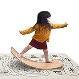 little dove Wooden Balance Board with Playmat Wobble Board & Race Track Mat Preschool Toys Early...