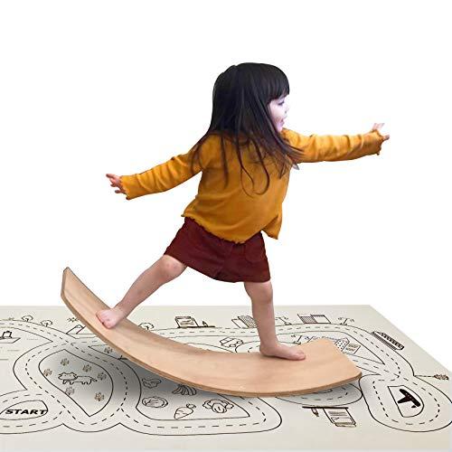 little dove Wooden Balance Board Wobble Balance Board Preschool Toys Kid Yoga Board Early Learning Curvy Board - Wooden Rocker Board Kid Size Natural Wood