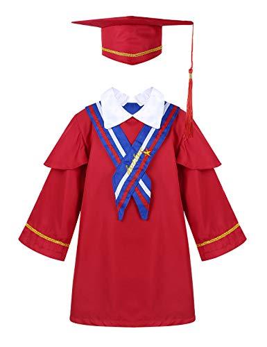 MSemis Graduacion Toga y Birrete Niño Niña Infantil Set Regalos 2 Colores Rojo 140 cm