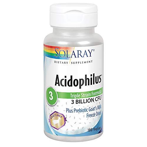 Solaray Acidophilus 3 Strain Probiotic & Prebiotic Goats Milk | 3 Billion CFU & Freeze Dried | 100 VegCaps