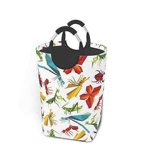 ZCHW Cesto de lavandería de Papel Origami Insecto Animal Vida Silvestre Cesta de lavandería Bolsa de Ropa Sucia Cubo Plegable Cubo de Lavado 50L