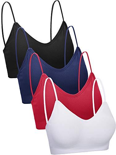 4 Piezas de Sujetador de Camisola de Cuello V Bandeau Bralette sin Costura Sujetador de Dormir para Mujers Chicas (Estilo Retro, L-XL)
