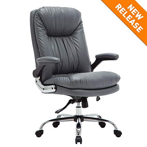 B2C2B High Back Ergonomic Home Office Chair - Leather Computer Executive Desk Chair Modern Racing Chair Adjustable with Flip-up Arms Lumbar Support 300lbs Gray chair gaming gray