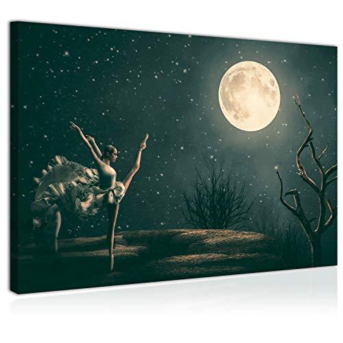 Topquadro Cuadro Imagen sobre Lienzo 70x50cm, la Bailarina y la Luna, Cielo Estrellado, Ballet y Danza Clásica - Decoración de Pared - Una Pieza