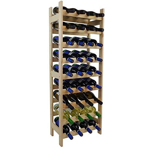DILUMA Weinregal Bacchus Basic 119 x 43 x 25 cm Natur für 36 Flaschen - Robustes Flaschenregal aus naturbelassenem Kiefernholz
