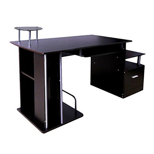 Kitechildhssd Computadora PC Mesa Escritorio Muebles de Oficina en casa con cajón de Bandeja de Teclado DX-202 Marron Oscuro