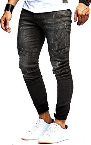Leif Nelson Herren Jeans Hose Stretch Slim Fit Denim Blaue Lange Schwarze Jeanshose für Männer Jungen weiße Freizeithose Schwarze Cargo Chino Sommer Winter Basic LN9920 W34L32 Schwarz