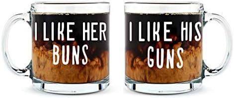 I Like His Guns I Like Her Buns Couples Mug Funny Couple Mug 2 13OZ Glass Coffee Mug Funny Mug product image