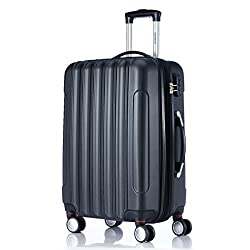 Twin Rolls 2050 Hard Case Trolley Suitcase Travel Case in ML-XL Set in 12 Colors (L, Black)