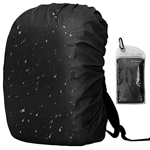 OUTJOY Backpack Rain Cover (26L-40L) Waterproof Rainproof Backpack Pack Cover with Silver Coating Reinforced Inner Layer for Hiking Camping Traveling Cycling (Black)