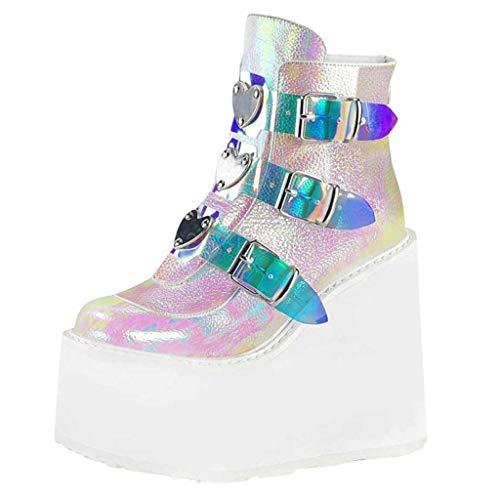 Routinfly Damen Plattform Stiefel, Mode Multicolor Wedge Boots Damen Zip Up Platform Schuhe Sexy Heel Ankle Boots Abendkleid Arbeitsschuhe Bunte Plattformkeilabsatzschuhe Boots(rosa, 39)