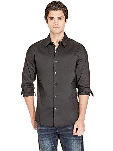GUESS Factory Men's Damon Poplin Button Down Long Sleeve Dress Shirt