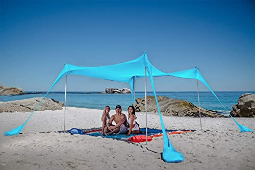 SUN NINJA Pop Up Beach Tent Sun Shelter UPF50+ with Sand Shovel, Ground Pegs,and Stability Poles, Outdoor Shade for Camping Trips, Fishing, Backyard Fun or Picnics (Turquoise, 300 x 300 cm 4 Pole)