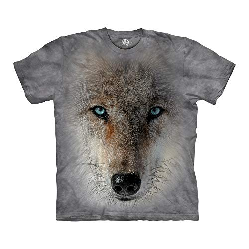 The Mountain Big Face Wolf 100% Cotton Unisex T-Shirt - Inner Wolf Pack - Grey, 4XL