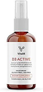 Vitalifi Vitamin D3 Active with Vitamin K2 MK-7 (MenaQ7) - Clinically Proven Dosages to Support Healthy Brain, Cardiovascular Health, Balanced Inflammatory Response & Superior Calcium Absorption
