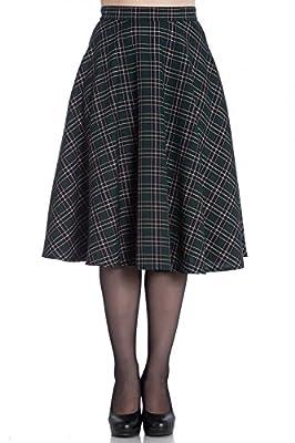 Hell Bunny Peebles Tartan 50s Vintage Retro Flare Swing Skirt