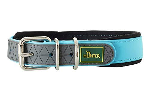 HUNTER CONVENIENCE COMFORT Hundehalsband, Kunststoff, Neopren, wasserfest, schmutzabweisend, gepolstert, 55 (M-L), türkis