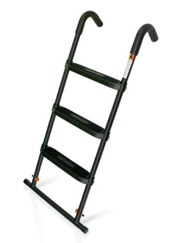 JumpSport SureStep Removable Platform 3-Step Trampoline Safety Ladder - Easy to Attach, Powder Coated, and UV Treated for Weather Protection