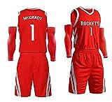 Camiseta de Baloncesto para Hombre Ropa de Baloncesto Houston Rockets # 11 Tracy McGrady Pantalones Cortos Deportivos Top Jersey, Ropa de Baloncesto-Red-XS