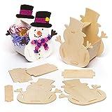 Baker Ross Kits de cestas de madera con diseño de muñeco de nieve (pack de 4) para manualidades y decoraciones navideñas infantiles