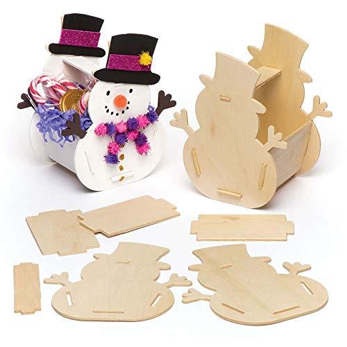 Baker Ross Kits de paniers en Bois Bonhomme de Neige (Lot de 4), Loisirs créatifs et décorations de Noël pour Enfants