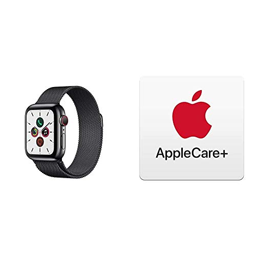 Apple Watch Series 5 (GPS+Cellular, 40 mm) Edelstahlgehäuse Space Schwarz - Milanaise Armband Space Schwarz mit AppleCare+