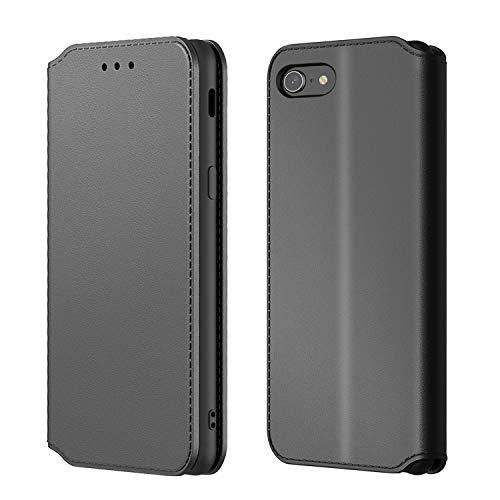 AURSTORE Kompatibel Mit iPhone SE 2020 hülle, iPhone 8 hülle, iPhone 7 hülle, Premium Kunstleder Schutzhülle,Handyhülle Magnetverschluss Flip Case für (iPhone 7/8/SE 2020 (4,7 Zoll), Schwarz)