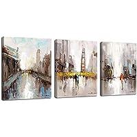 FajerminArt 3 Paneles Amante Abstracto Moderno Lienzo Pintura Ciudad Calle Arte Pinturas Impresiones, Pintura Arte Sala De Estar Adecuada, Tamaño De Marco (40cm X 60cm X 3 Paneles) (Marco de Madera)