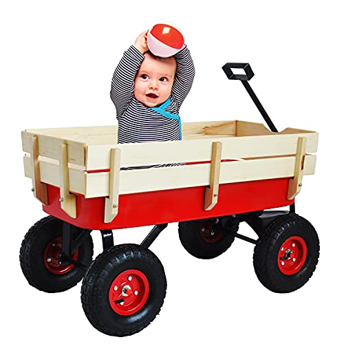 All Terrain Wagons for Kids Wagon with Removable Wooden Side Panels, Garden...