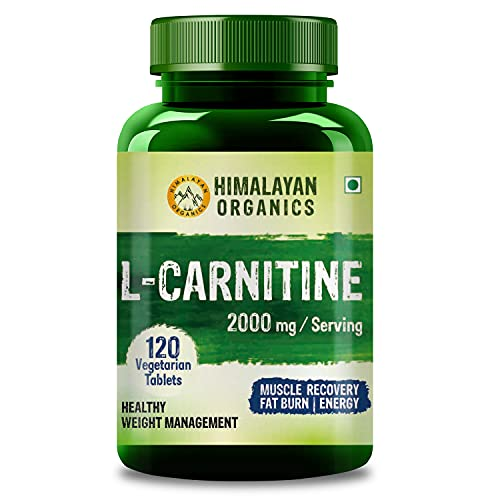 Himalayan Organics L Carnitine 2000mg/Serve   Supports Muscle Recovery, Fat Burn & Energy   120 Veg Tablets