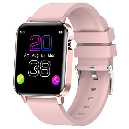 Smartwatch HAOQIN Fitness Tracker VS2 - Sportuhr für Damen Herren mit 1,4-Zoll-Touchscreen Herzfrequenz und Schlafmonitor IP68 Wasserdicht Kompatibel mit Android IOS (Rosa)