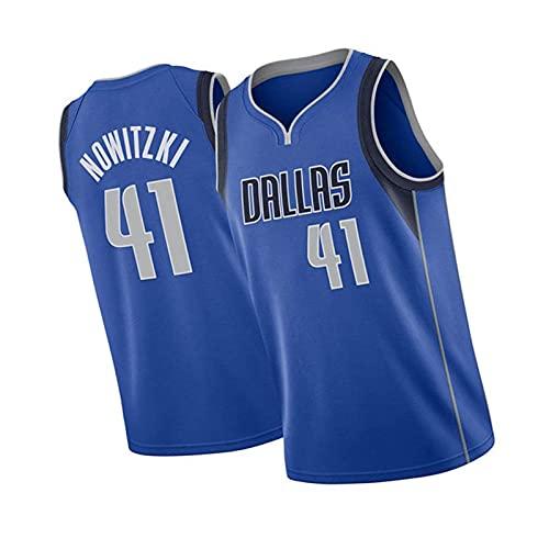 GJGD Ärmellose Basketball-Jersey von Herren Dallas Mavericks # 41 Dirk Nowitzki, atmungsaktiv für den täglichen Verschleiß und zum Training blue1-S