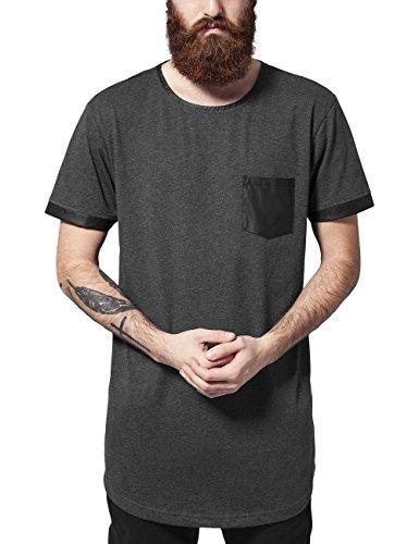 Urban Classics Long Shaped Leather Imitation Tee T-Shirt, Mehrfarbig (cha/Blk 314), Medium Uomo