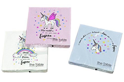 Home Collection Servietten (3er Set / 60Stück) 3-lagig 33x33cm Magic Einhorn Regenbogen Unicorn