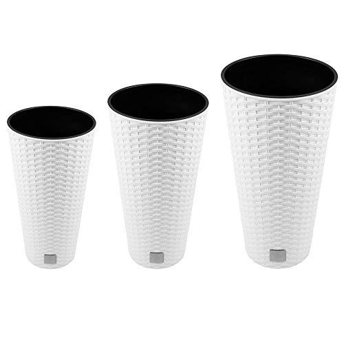Wellhome Pack de 3 maceteros Altos con deposito Prosperplast Rato Tubus (8/15,5/27 L) en Color Blanco