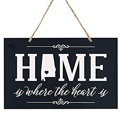 "LifeSong Milestones Southeast Region State ""Home is Where The Heart is"" Heartwarming Beautiful Rope Hanging Wall Sign Housewarming 8"" x 12"" Gift for New Homeowners Made in The U.S.A"