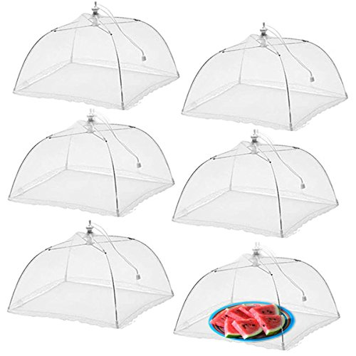 Wisdom Pop-Up Mesh Food Covers Tent Umbrella 6 Pack Large 17 inch Reusable and Collapsible Screen Net Protectors for Outdoors Parties Picnics BBQs Keep Out Flies Bugs Mosquitoes
