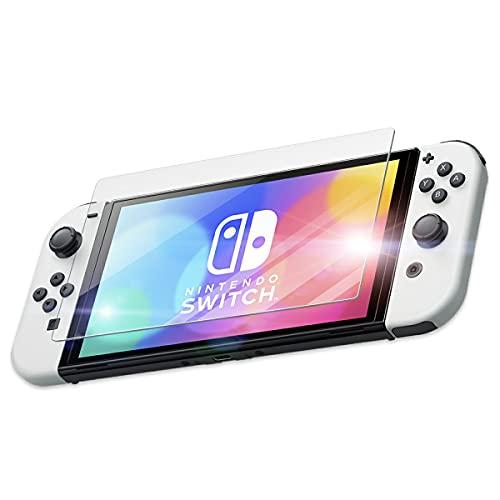 Nintendo Switch 有機ELモデル 専用 ガラス フィルム さらさら タッチ感 ニンテンドー スイッチ 守る 耐衝撃 割れ 交換 修理 割れ 防止 保護 子供 傷 カバー 落下 クリア 透明 clear