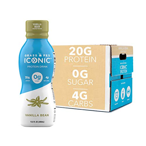 ICONIC Low Carb High Protein Drinks, Bean, Vanilla, 11.5 Fl Oz (Pack of 12)