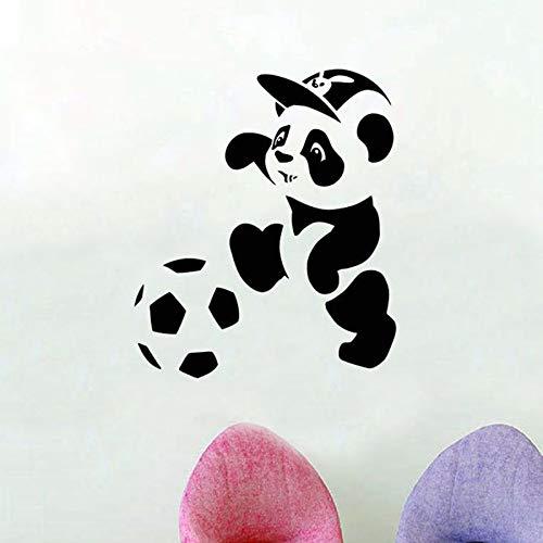 Panda de dibujos animados pegatinas de pared dormitorio de los niños jardín de infantes jugando al fútbol decoración del hogar murales deportivos lindos pegatinas de pared de vinilo
