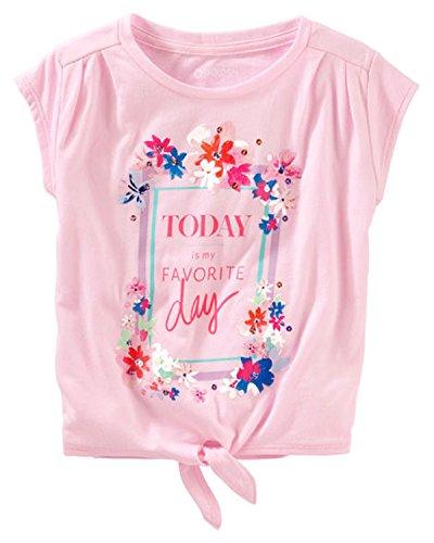 OshKosh Little Girls Short Sleeved Tie Hem Favorite Day Graphic Tee Shirt (3t) Pink