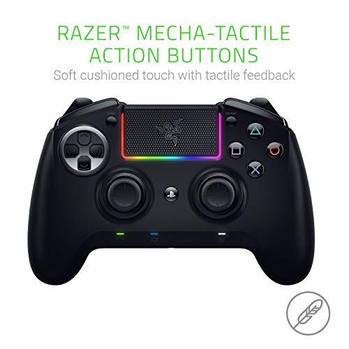 Razer Raiju Ultimate (2019) - Wireless and Wired Gaming Controller für PS4 + PC (Kabelgebundener und Kabelloser Bluetooth Controller, Mecha-Tactile-Aktionstasten, Austauschbare) Schwarz