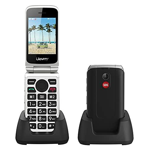 Uleway 3G Unlocked Flip Phone para idosos, 2,8 '' Dual SIM Card Big Button Senior Cell Phone com carregador e recurso de emergência SOS (preto)