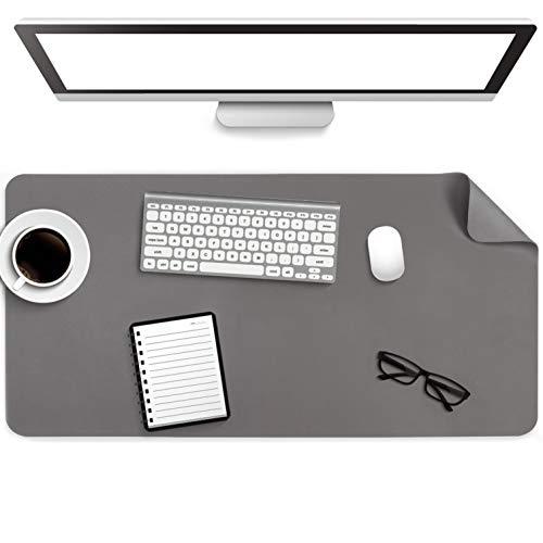 Multifunktionales Office Mauspad, YSAGi Wasserdichte Schreibtischunterlage aus PU-Leder, Ultradünnes Mousepad zweiseitig nutzbar, ideal für Büro und Zuhause (Dunkelgrau, 80 * 40 cm)