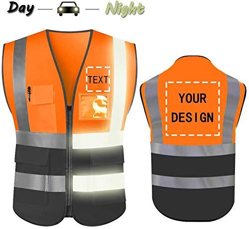 Hoge zichtbaarheid veiligheidsvest aangepast uw logo beschermende werkkleding 5 zakken met reflecterende stroken outdoor werk vest Large Oranje/Zwart 3xl