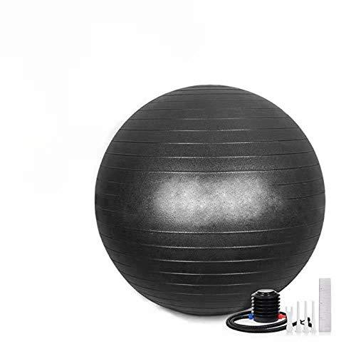 HBSTK Pelota de Fitness Negra de 65 cm con cojín, Silla de Yoga súper Gruesa, Pelota de Fitness a Prueba de explosiones, Incluye Bomba de Bola y 3 Bolas de Masaje de 7 cm para piernas, pies y Espalda
