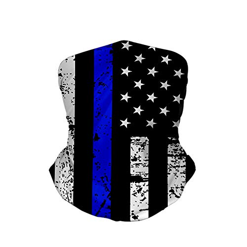 Bandana Face Mask American Thin Blue Line Flag Day Neck Gaiter Outdoor Balaclava for Women Men Warmer Headband Washable Reusable Headwear Cover Windproof Dust Scarf for Cycling Running Fishing Gym Ski