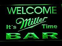 Miller It's Miller Time Welcome Bar LED看板 ネオンサイン ライト 電飾 広告用標識 W30cm x H20cm グリーン
